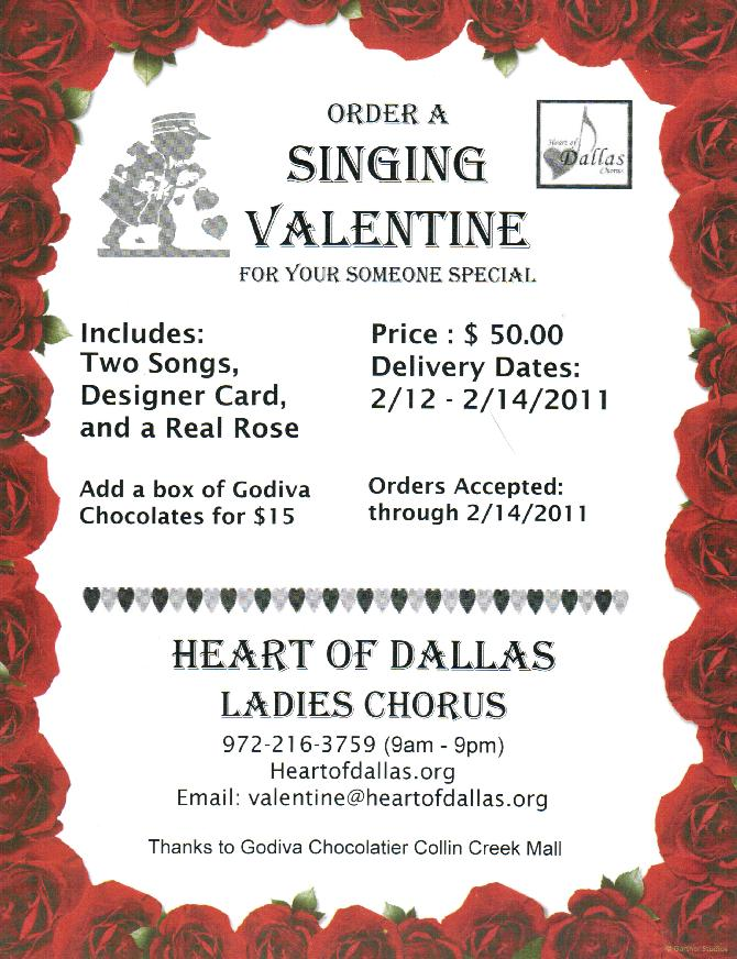 each singing valentine comes with 2 songs performed for your loved onefriend they will also receive a real rose and a designer card with a personal